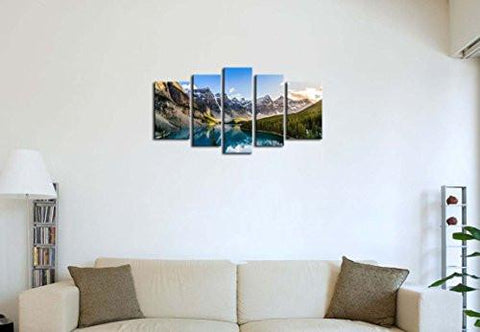 Image of 5 Pieces Modern Canvas Painting Wall Art The Picture For Home Decoration Moraine Lake And Mountain Range Sunset Canadian Rocky Mountains Landscape Print On Canvas Giclee Artwork For Wall Decor - zingydecor