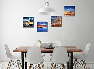 Phoenix Decor-Canvas Print,Giclee Artwork, Stretched and Framed, Paintings on Canvas Modern Lanscape Wall Art for Home and Office Decorations GF038 (12x12inchx4pcs) - zingydecor