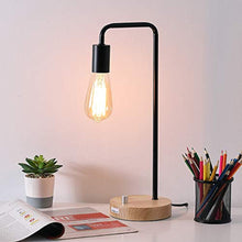 Load image into Gallery viewer, HAITRAL Desk Lamp Wooden Industrial Table Lamp for Office, Bedroom, Living room - zingydecor
