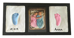 Clay Handprint & Footprint Keepsake Photo Wall Mount Frame - Black - zingydecor