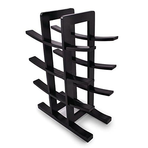 Sorbus Bamboo Wine Rack – Holds 12 Bottles of Your Favorite Wine – Sleek and Chic Looking Wine Rack (Black)