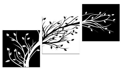 Leaves Modern 3 Panels Flowers Artwork Giclee Canvas Prints Black and White Abstract Floral Trees Pictures Paintings on Canvas Wall Art for Living Room Bedroom Home Decorations - zingydecor