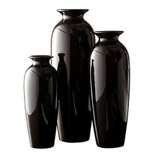 Hosley Elegant Expressions Ceramic Vases in Gift Box, Black, Set of 3 - zingydecor