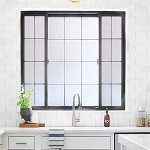 "Rabbitgoo Privacy Window Film Matte White Window Film Frosted Window Film Static Cling Glass Film Non Adhesive Window Film for Home Bathroom Office Meeting Room Living Room 17.7"" x 78.7"" - zingydecor"