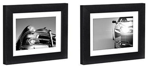 Image of Two Tabletop Frames Made to Display Pictures Sized 4x6 inches with Mat and 5x7 inches without Mat – Glass Front, Easel Stand, Ready to Display on Desktop and Table Top