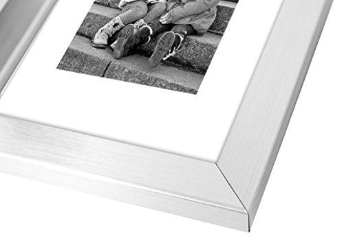 8x10 Silver Picture Frame - Made to Display Pictures 5x7 with Mat or 8x10 Without Mat - Real Glass - Standing Hardware Included