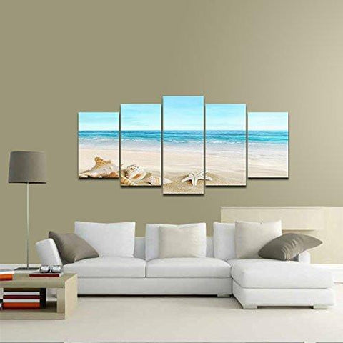 Pyradecor Seashell 5 panels Seascape Giclee Canvas Prints Landscape Pictures Paintings on Modern Stretched and Framed Canvas Wall Art Sea Beach Pictures Artwork for Home Decor - zingydecor