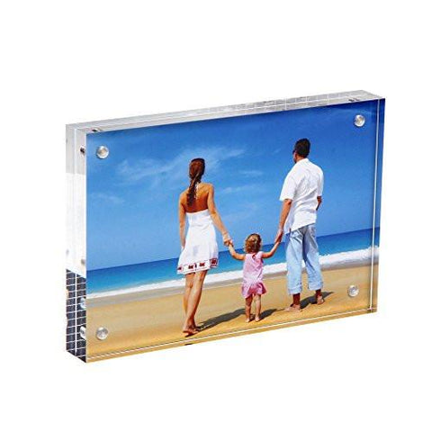 "Niubee Clear Acrylic Photo Frame 4x6"" Gift Box Package, Double Sided Magnetic Acrylic Block Picture Frames, Frameless Desktop Postcard Display"