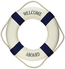 "Oliasports Welcome Aboard Cloth Life Ring Navy Accent Nautical Decor 13.5"" - Decoration Only - zingydecor"