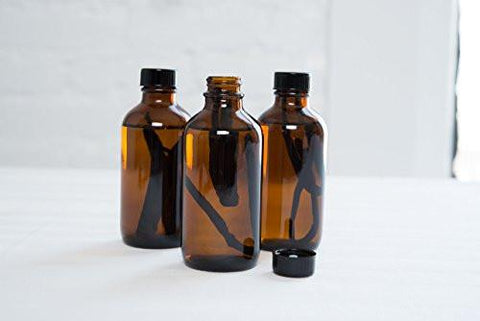 12 Pack - 4 oz. Amber Glass Bottle with Lid for Vanilla Extract, Perfume, Oils, Light-Sensitive Liquids, Refillable Boston Round Bottle from California Home Goods