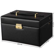 Load image into Gallery viewer, SONGMICS Girls Jewelry Box Lockable Jewelry Organizer Mirrored Storage Case Black UJBC114