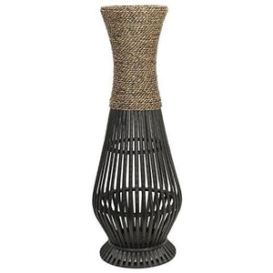 Hosley's Bamboo Wood Tall floor Vase. Ideal Gift for home, office, spa, Reiki, organic/natural settings, wedding, dried floral arrangements