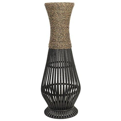 Hosley's Bamboo Wood Tall floor Vase. Ideal Gift for home, office, spa, Reiki, organic/natural settings, wedding, dried floral arrangements - zingydecor