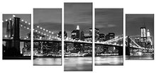 Wieco Art - Broooklyn Bridge Night View 5 Panels Modern Landscape Artwork Canvas Prints Abstract Pictures Sensation to Photo Paintings on Canvas Wall Art for Home Decorations Wall Decor - zingydecor