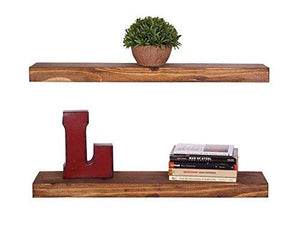 del Hutson Designs Handmade 24-Inch Rustic Pine Floating Wall Shelves, Walnut (Set of 2) - zingydecor