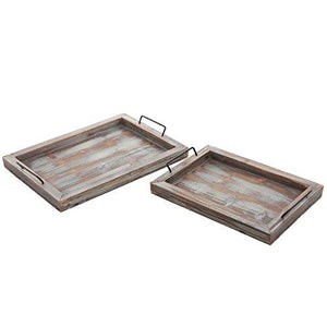 Set of 2 Country Rustic Whitewashed Brown Wood Finish Rectangular Nesting Serving Trays w/ Metal Handles - zingydecor