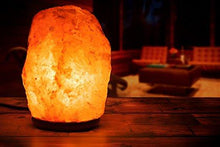 Natural Himalayan Rock Salt Lamp 19-25 lbs with Wood Base, Electric Wire & Bulb
