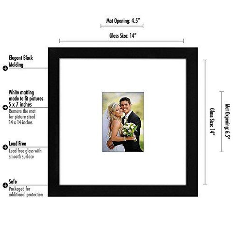 Image of 14x14 Wedding Signature Picture Frame - Matted to Fit Pictures 5x7 Inches or 14x14 Without Mat - Made with Glass - zingydecor