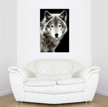 Startonight Wall Art Canvas White Wolf, Animals USA Design for Home Decor, Dual View Surprise Artwork Modern Framed Ready to Hang Wall Art 23.62 X 35.43 Inch 100% Original Art Painting - zingydecor