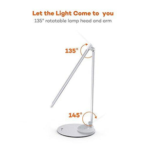 TaoTronics LED Desk Lamp with USB Charging Port, Eye- care Dimmable Lamp, Metal, Glare-Free, 5 Color Temperatures with 5 Brightness Levels, Touch Control, Memory Function - zingydecor