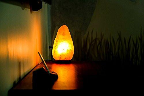 8 to 9 Inch Himalayan Salt Lamp Hand Carved, Natural Wood Base with Dimmer Control, 6-9 lb. Mined From Himalayan Mountain Range, Beautiful Amber Color, 100% Authentic Himalayan Salt Lamp - zingydecor