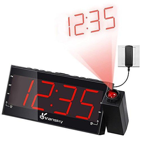 "Image of Vansky Digital Projection Alarm Clock Radio With Dimmer, 1.8"" LED Display, USB Charging, Dual Alarm, SNOOZE, Battery Backup"