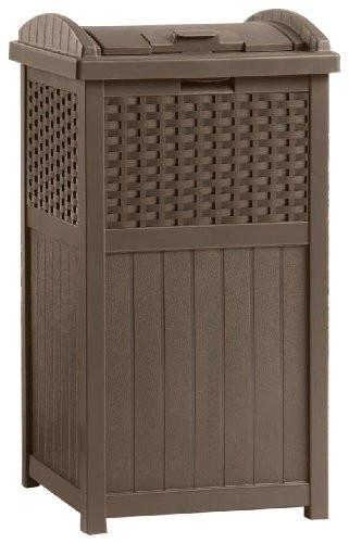 Suncast GHW1732 Resin Wicker Trash Hideaway - zingydecor