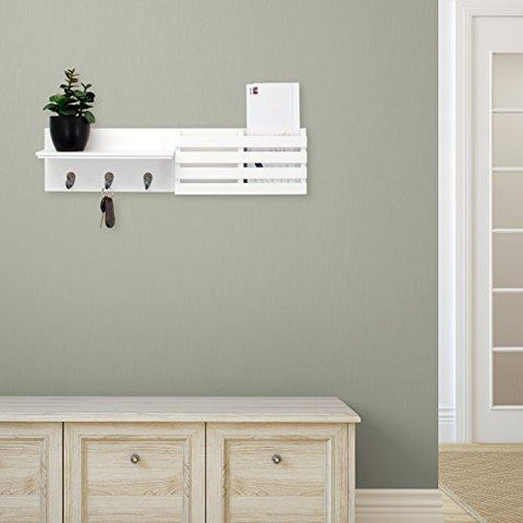 Image of Kiera Grace Sydney Wall Shelf and Mail Holder with 3 Hooks, 24-Inch by 6-Inch, White