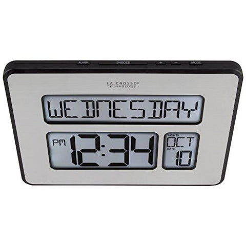 Image of La Crosse Technology 513-1419BL-INT Backlight Atomic Full Calendar Clock with Extra Large Digits - Perfect Gift for the Elderly