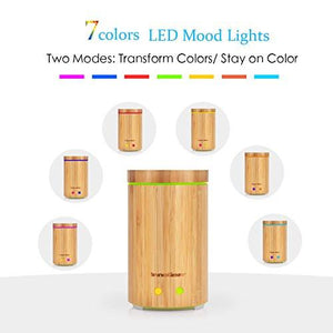 InnoGear Real Bamboo Essential Oil Diffuser Ultrasonic Aromatherapy Diffusers with 7 LED Colorful...