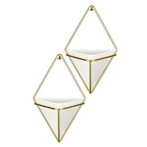 Hanging Container Handcrafted Wall Vases,Geometric Wall Decor,Wall Vase Hanging,Plant Hanger for Indoor Outdoor Decoration-2Pack