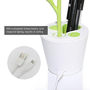 iEGrow Flexible USB Touch LED Desk Lamp with 3-Level Dimmer and Decor Plant Pencil Holder(Green)