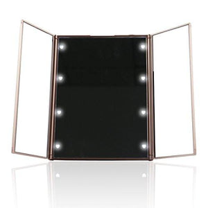 Expower Tri-Fold Lighted Travel Makeup Mirror, Compact Led Light Vanity Mirrors Folding Illuminating Travel Mirror with 8 Led Lights - zingydecor