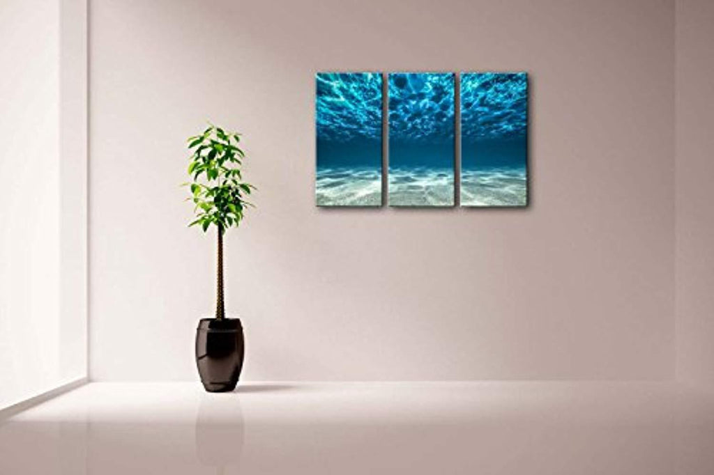 Print Artwork Blue Ocean Sea Wall Art Decor Poster Artworks For Homes 3 Panel Canvas Prints Picture Seaview Bottom View Beneath Surface Pictures Painting On Canvas Modern Seascape Home Office Decor - zingydecor