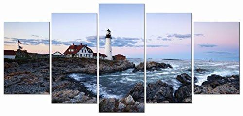 Island 5 Panels Modern Canvas Prints Artwork Seascape Lighthouse Pictures to Photo Paintings on Stretched and Framed Canvas Wall Art Décor for Living Room Bedroom Home Decorations