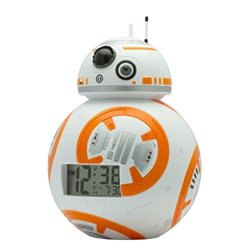 BulbBotz Star Wars BB-8 Kids Light Up Alarm Clock, white/orange plastic 7.5 inches tall LCD display, boy girl official - zingydecor