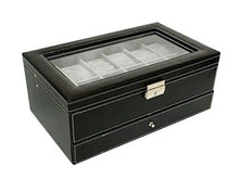 Sodynee PU Leather Glass Top Watch Box with Jewelry tray - Black - zingydecor