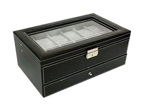 Image of Sodynee PU Leather Glass Top Watch Box with Jewelry tray - Black