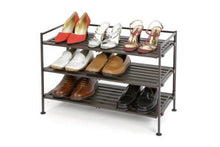 Load image into Gallery viewer, Seville Classics 3-Tier Resin Slat Utility Shoe Rack, Espresso - zingydecor
