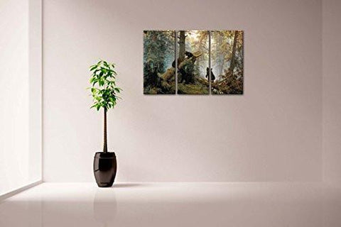 Image of Bears Play In Forest Broken Tree Wall Art Painting The Picture Print On Canvas Animal Pictures For Home Decor Decoration Gift
