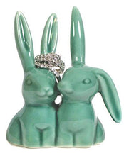 Load image into Gallery viewer, Bunny Rabbit Ring Holder, Beautiful Teal Ceramic Engagement & Wedding Ring Holder - zingydecor