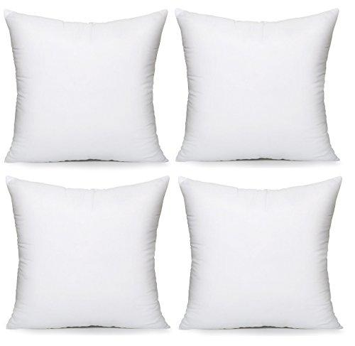 "Acanva Hypoallergenic Pillow Insert Form Cushion, Square, 18"" L x 18"" W, Pack of 4"