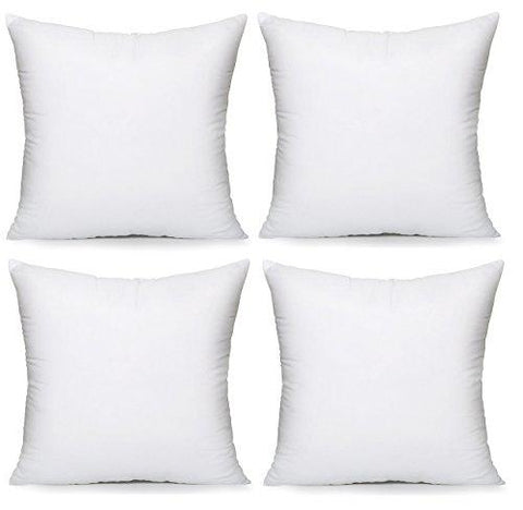 "Image of Acanva Hypoallergenic Pillow Insert Form Cushion, Square, 18"" L x 18"" W, Pack of 4 - zingydecor"