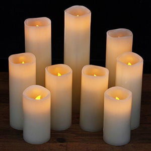 "Flameless Candles, Battery Operated Candles Set 4"" 5"" 6"" 7"" 8"" 9"" Battery Candles Dancing Flame With Remote Timer By Comenzar (Ivory ) - zingydecor"