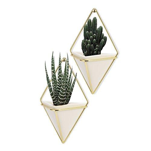Hanging Container Handcrafted Wall Vases,Geometric Wall Decor,Wall Vase Hanging,Plant Hanger for Indoor Outdoor Decoration-2Pack - zingydecor
