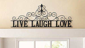 Scrolling Live Laugh Love Metal Wall Art - zingydecor