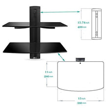 Load image into Gallery viewer, WALI Floating Shelf with Strengthened Tempered Glass for DVD Players/Cable Boxes/Games Consoles/TV Accessories, 2 Shelf, Black - zingydecor