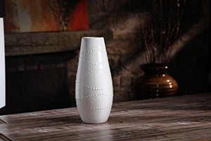 "Hosley Large 12"" Tall White Ceramic Vase - zingydecor"
