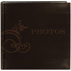 "Pioneer Embroidered Scroll and ""Photos"" Sewn Leatherette Cover Photo Album, Brown - zingydecor"