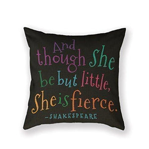 SIXSTARS Funny Though She Be But Little Quote Book Group Throw Pillow Square Cotton Linen Pillowcase Cover Cushion (18X18Inch)